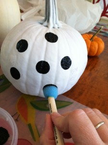 Painting a polka dot pumpkin