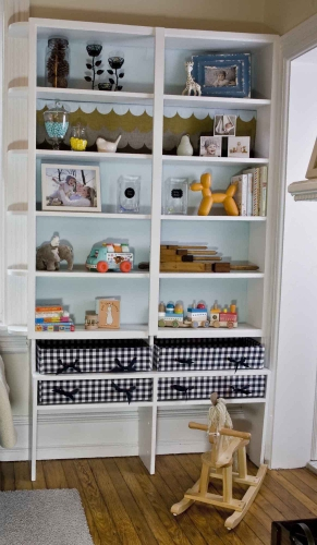Organized Playroom Shelf